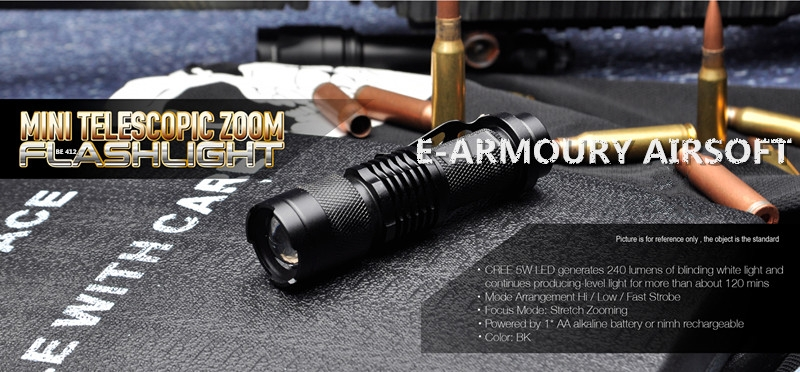 TeleBE 412 scopic Zoom Flashlight in Mini Style